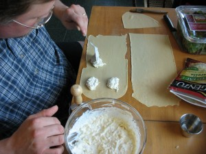 Filling the dough