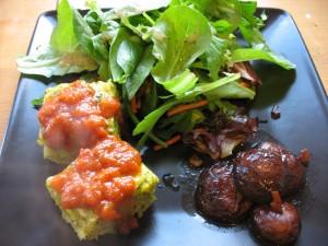 Roasted portabellos, broccoli polenta, salad